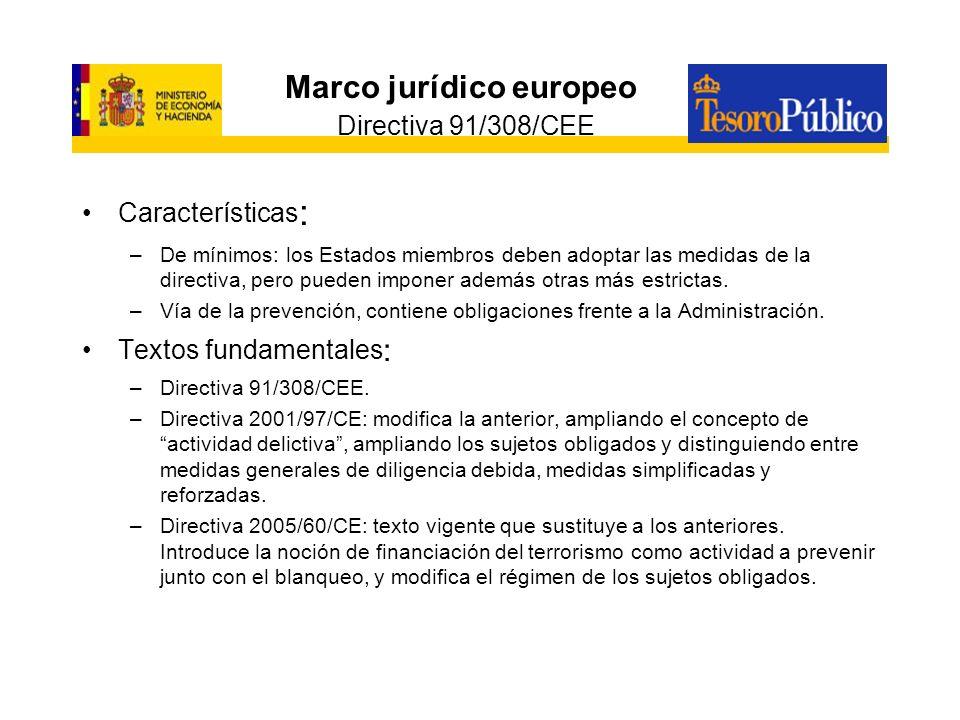 Marco jurídico europeo Directiva 91/308/CEE
