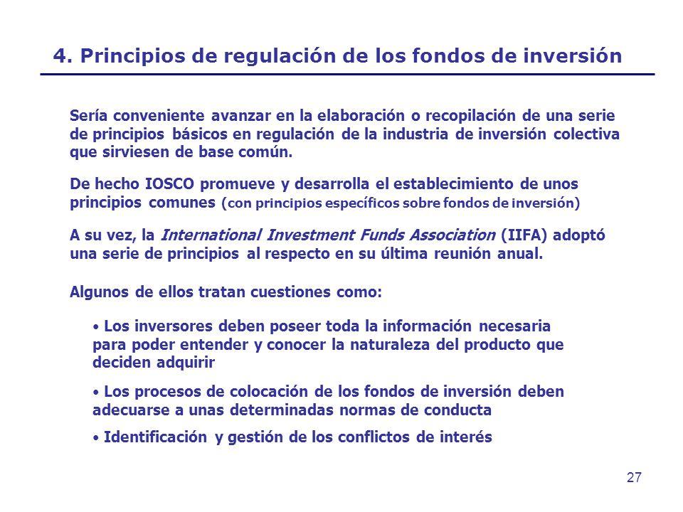 4. Principios de regulación de los fondos de inversión