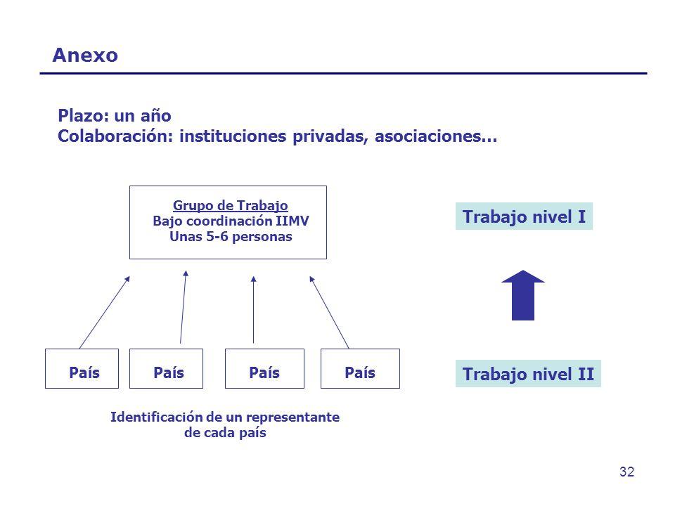 Bajo coordinación IIMV Identificación de un representante de cada país