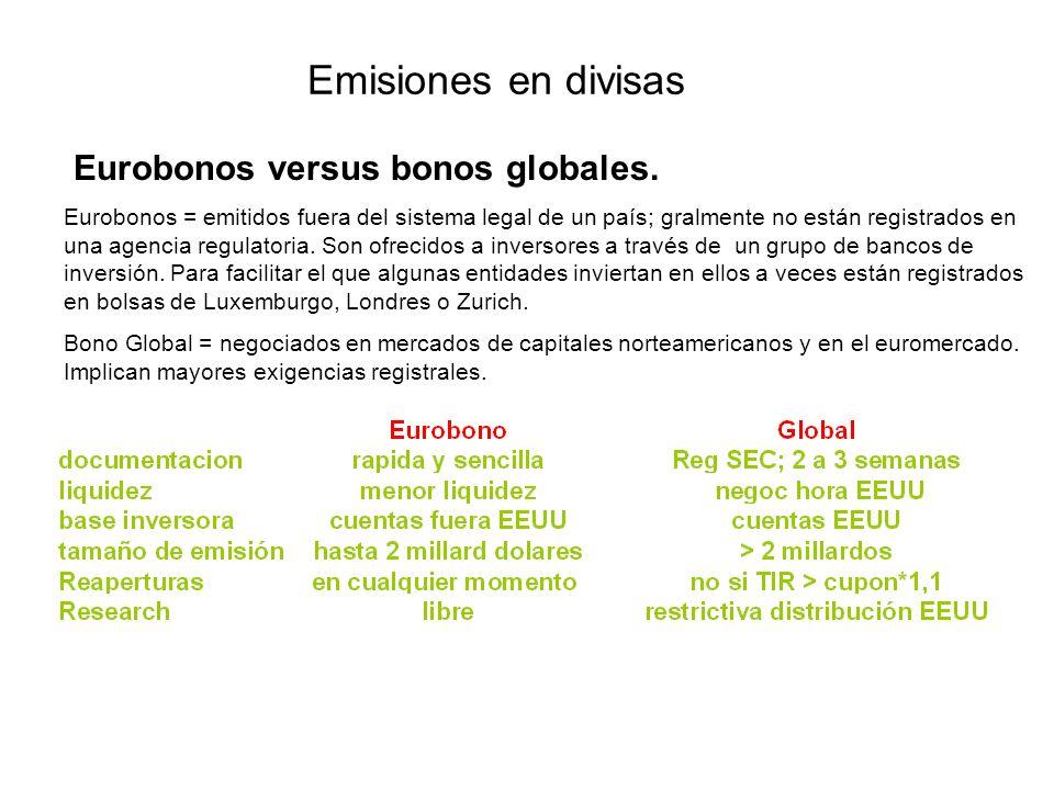 Emisiones en divisas Eurobonos versus bonos globales.