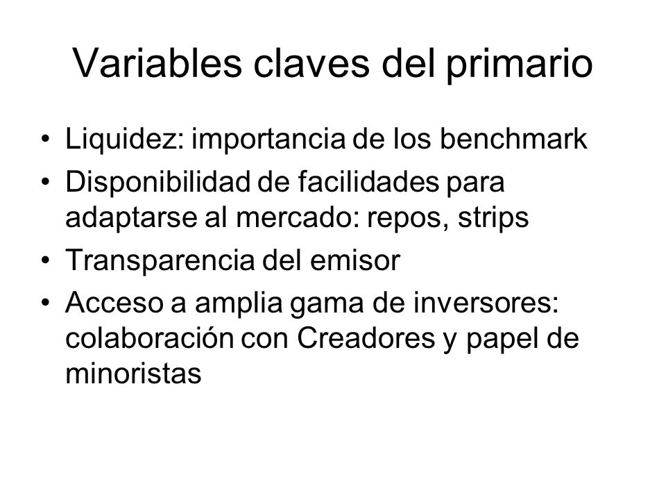 Variables claves del primario