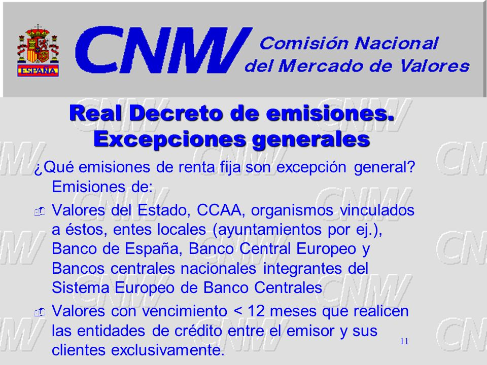 Real Decreto de emisiones. Excepciones generales