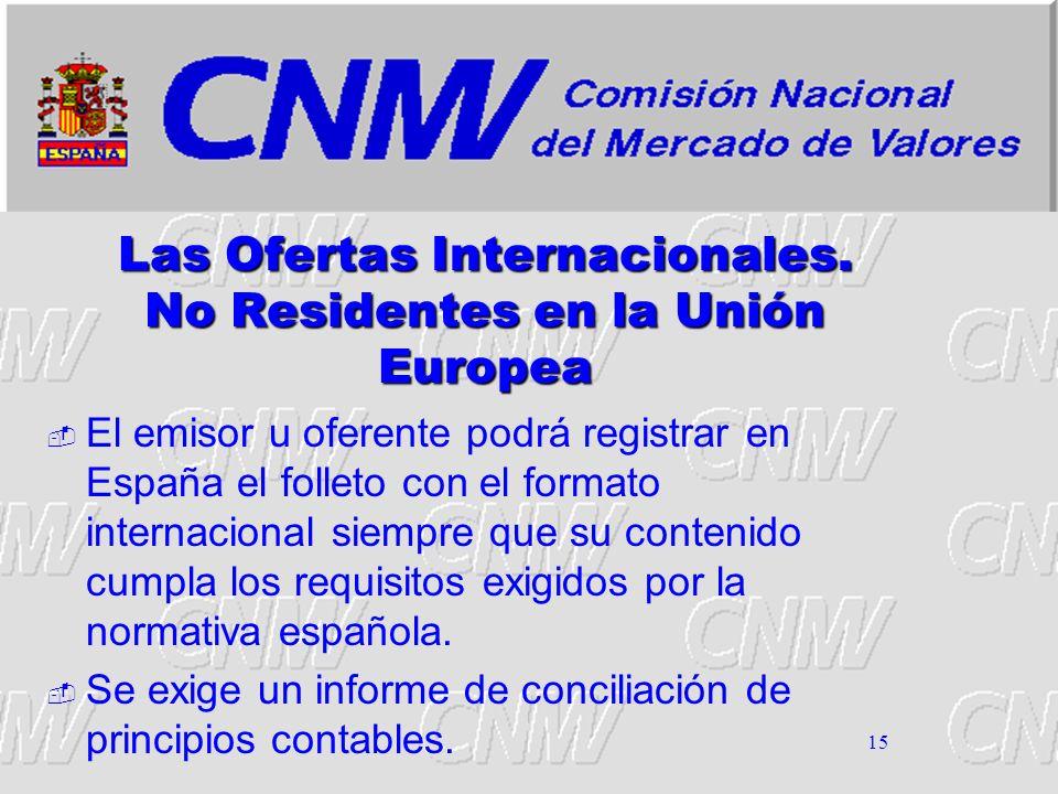 Las Ofertas Internacionales. No Residentes en la Unión Europea