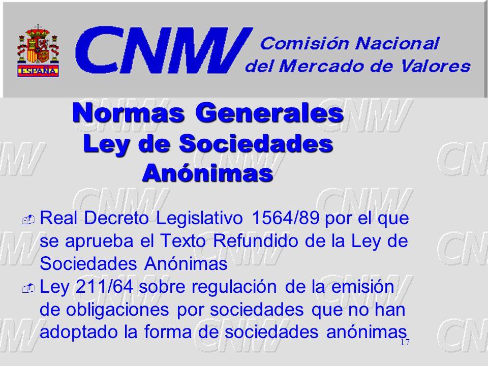 Normas Generales Ley de Sociedades Anónimas