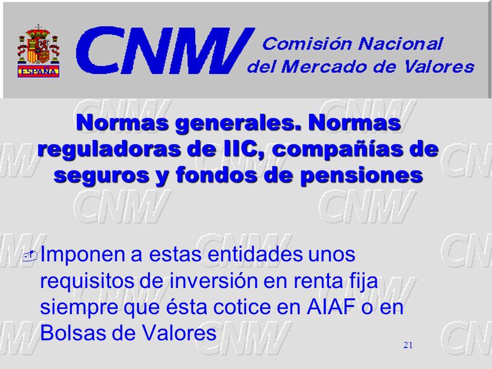 Normas generales. Normas reguladoras de IIC, compañías de seguros y fondos de pensiones