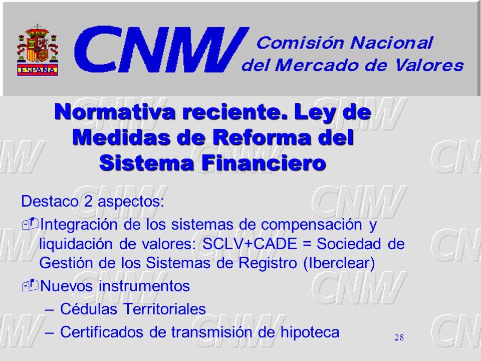 Normativa reciente. Ley de Medidas de Reforma del Sistema Financiero