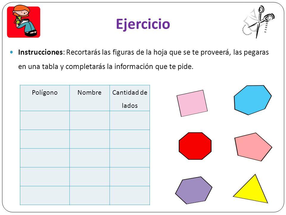 Ejercicio Instrucciones: Recortarás las figuras de la hoja que se te proveerá, las pegaras en una tabla y completarás la información que te pide.