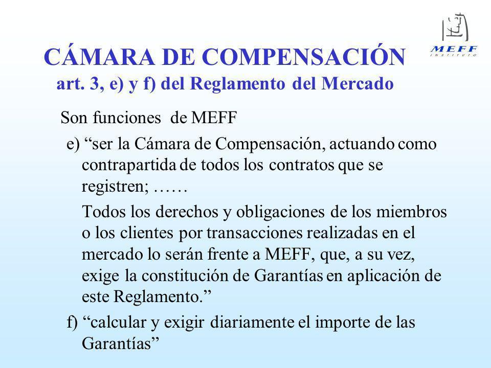 CÁMARA DE COMPENSACIÓN art. 3, e) y f) del Reglamento del Mercado