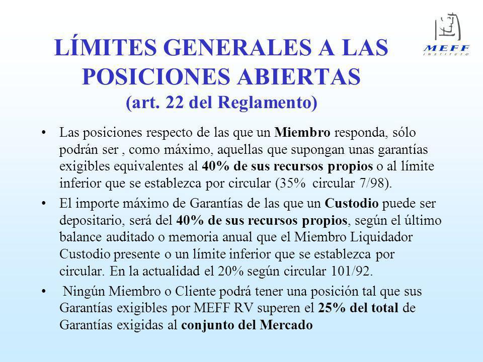 LÍMITES GENERALES A LAS POSICIONES ABIERTAS (art. 22 del Reglamento)