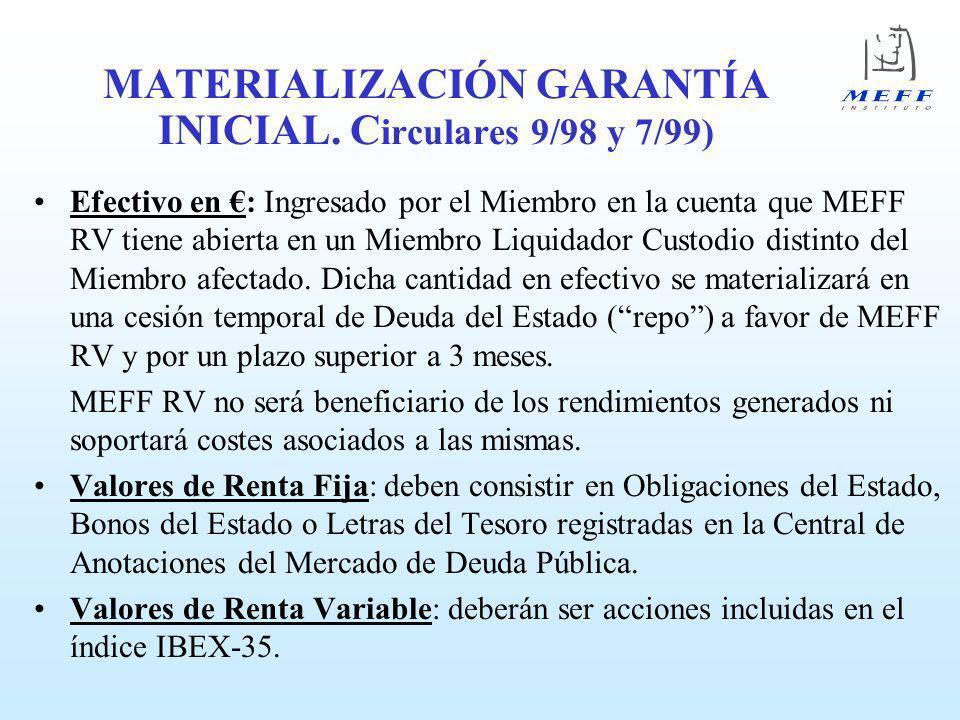 MATERIALIZACIÓN GARANTÍA INICIAL. Circulares 9/98 y 7/99)