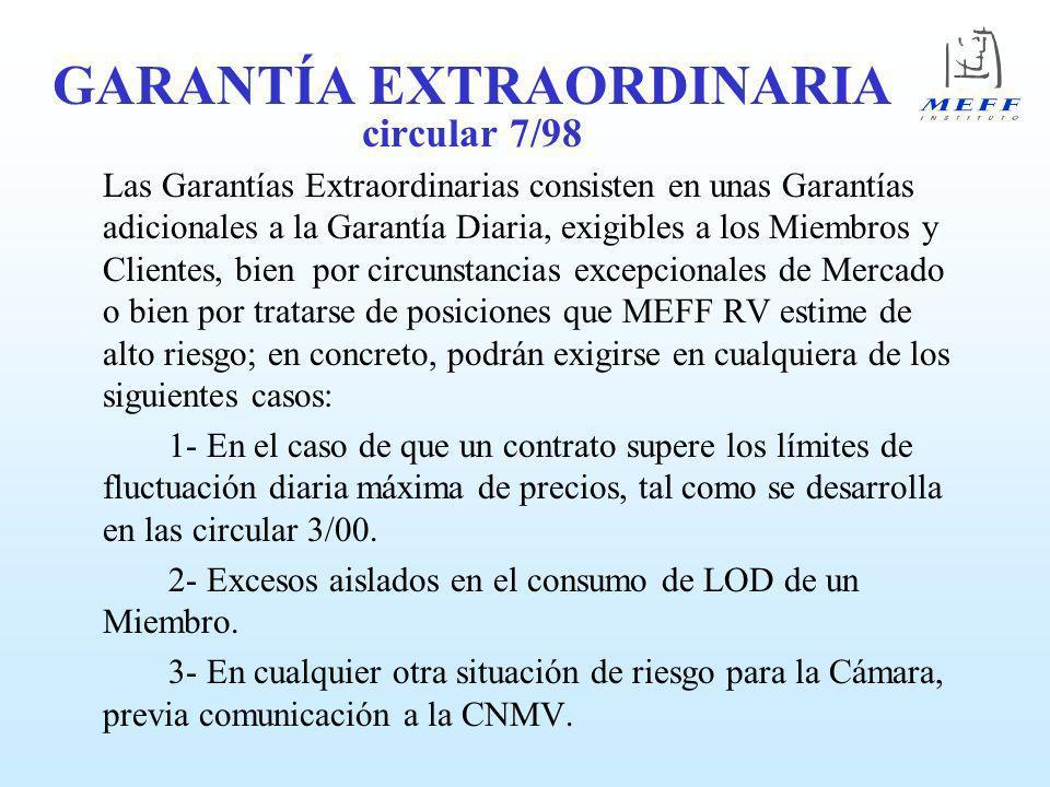GARANTÍA EXTRAORDINARIA circular 7/98