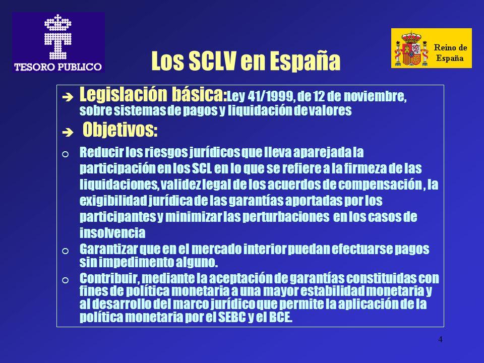 Los SCLV en EspañaLegislación básica:Ley 41/1999, de 12 de noviembre, sobre sistemas de pagos y liquidación de valores.