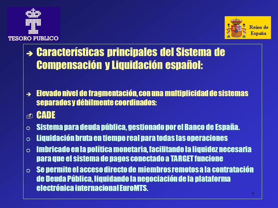 Características principales del Sistema de Compensación y Liquidación español: