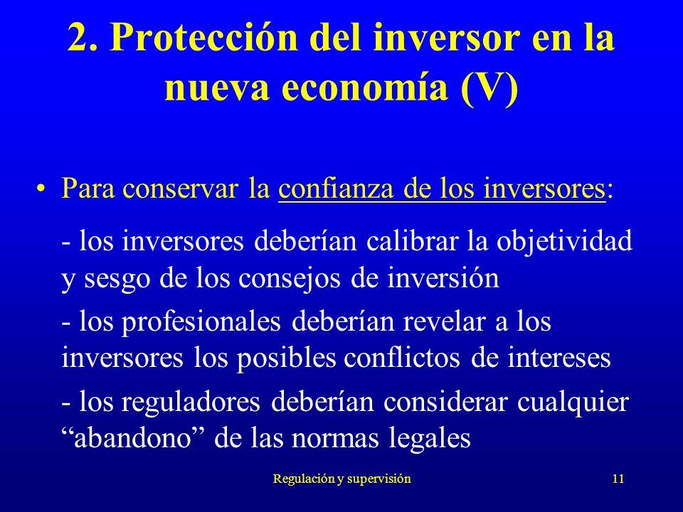 2. Protección del inversor en la nueva economía (V)