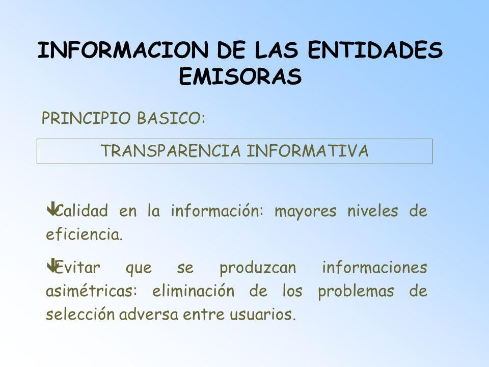 INFORMACION DE LAS ENTIDADES EMISORAS