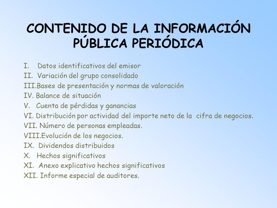 CONTENIDO DE LA INFORMACIÓN PÚBLICA PERIÓDICA