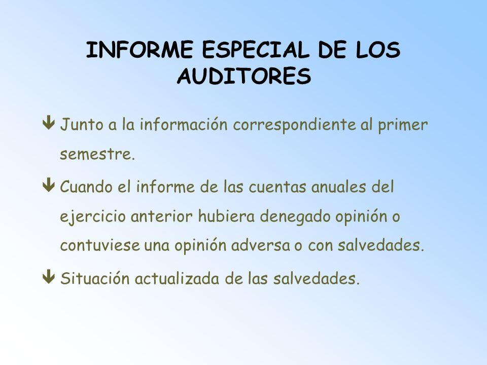 INFORME ESPECIAL DE LOS AUDITORES