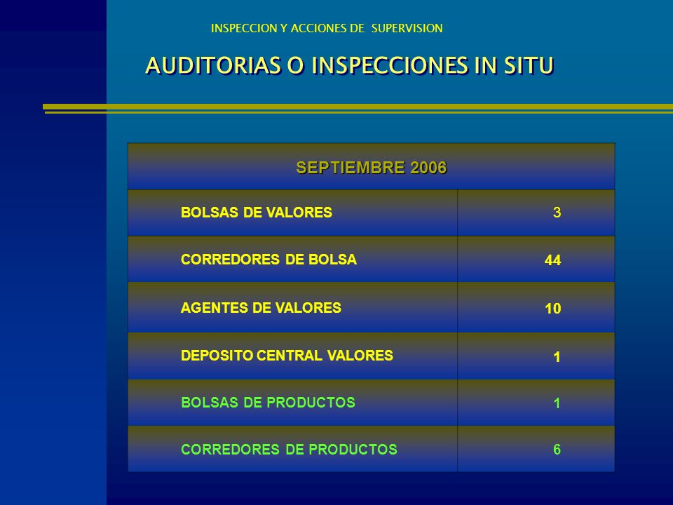 AUDITORIAS O INSPECCIONES IN SITU