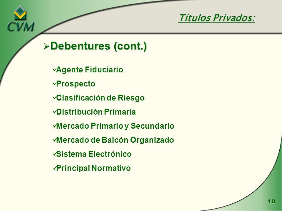 Títulos Privados: Debentures (cont.) Agente Fiduciario Prospecto