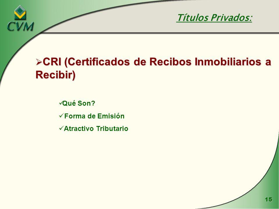 CRI (Certificados de Recibos Inmobiliarios a Recibir)