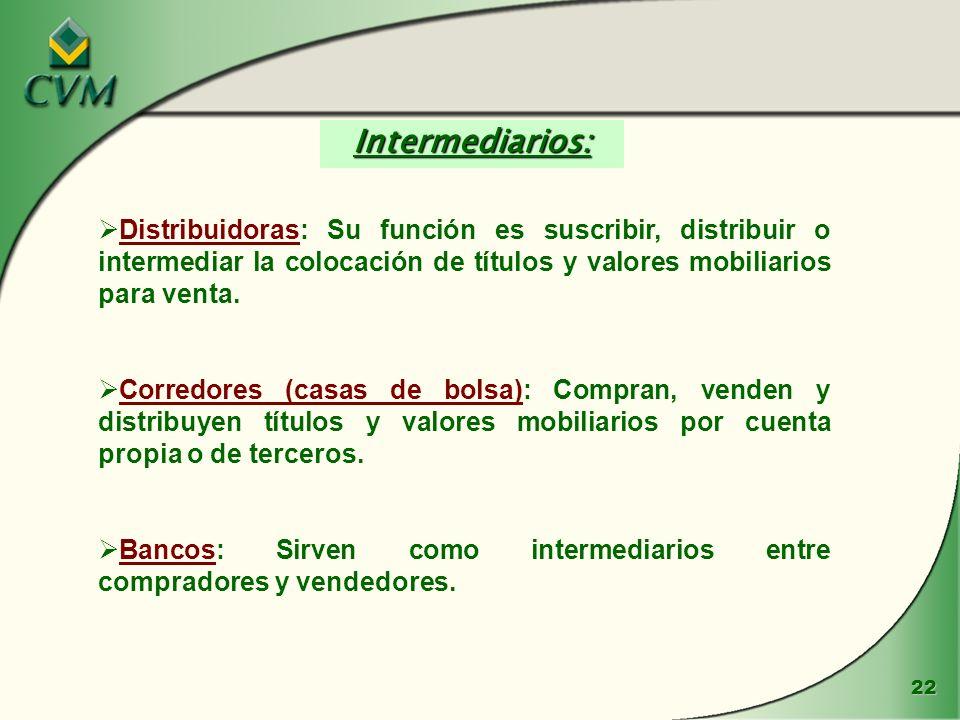 Intermediarios: Distribuidoras: Su función es suscribir, distribuir o intermediar la colocación de títulos y valores mobiliarios para venta.