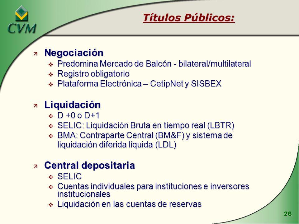 Títulos Públicos: Negociación Liquidación Central depositaria