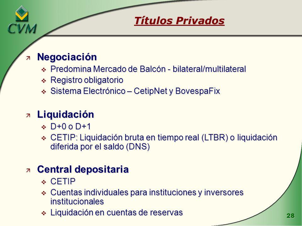 Títulos Privados Negociación Liquidación Central depositaria