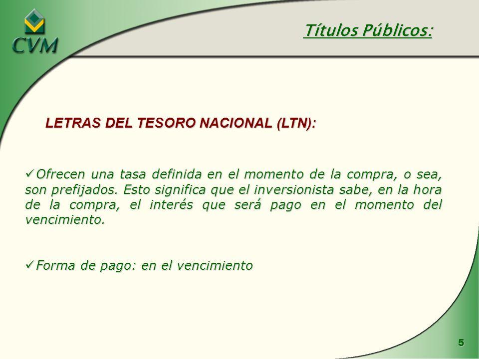 Títulos Públicos: LETRAS DEL TESORO NACIONAL (LTN):