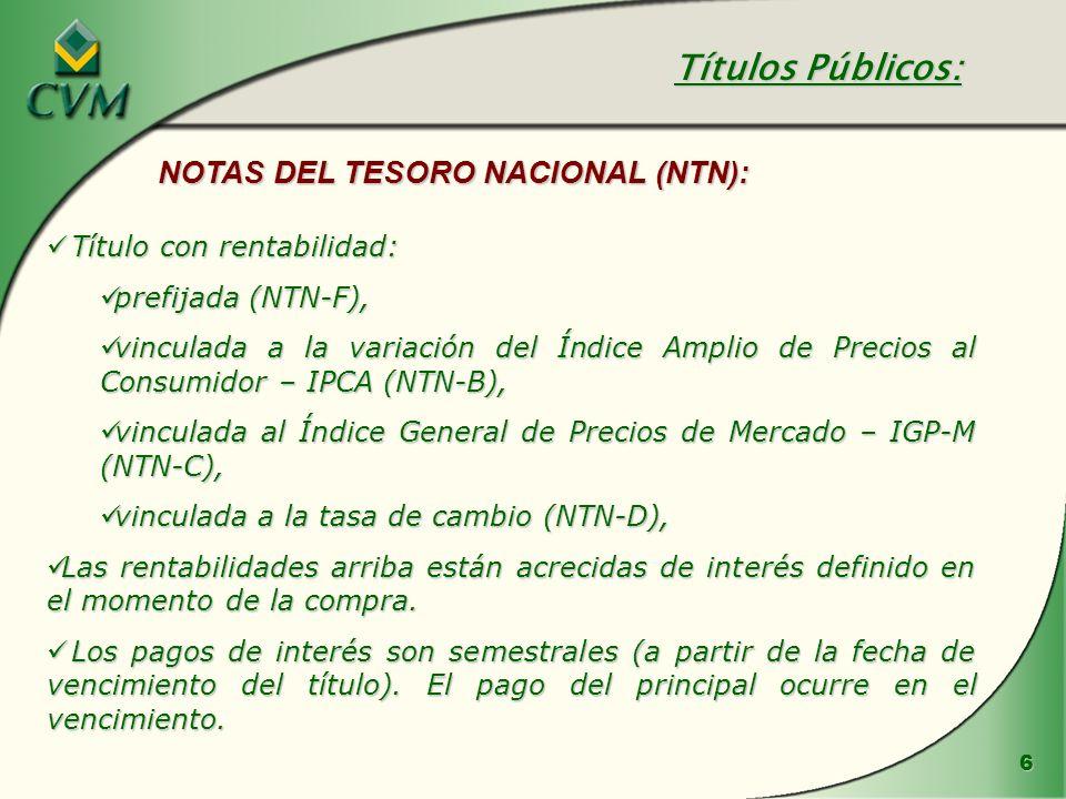 Títulos Públicos: NOTAS DEL TESORO NACIONAL (NTN):