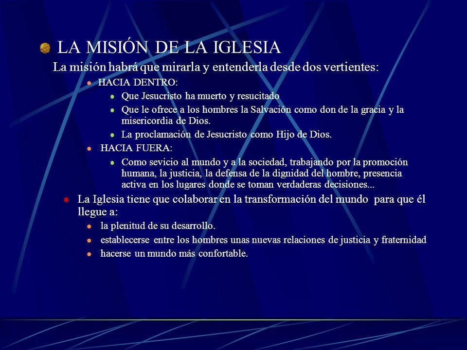 LA MISIÓN DE LA IGLESIA La misión habrá que mirarla y entenderla desde dos vertientes: HACIA DENTRO: