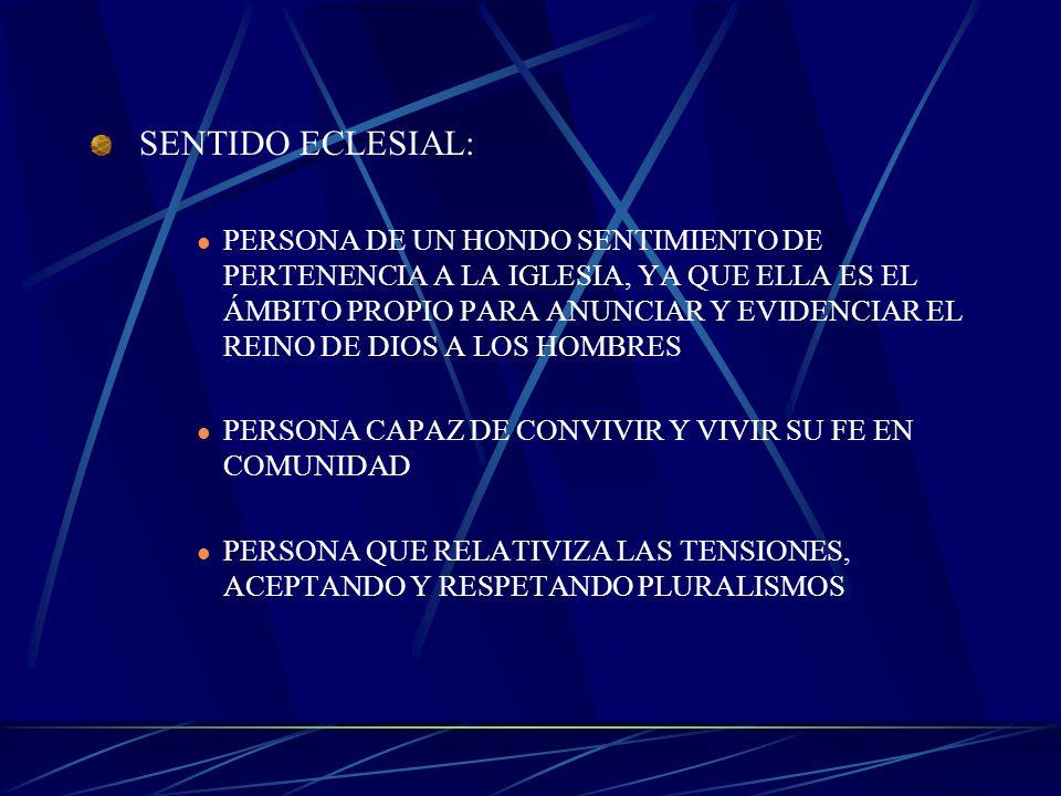 SENTIDO ECLESIAL: