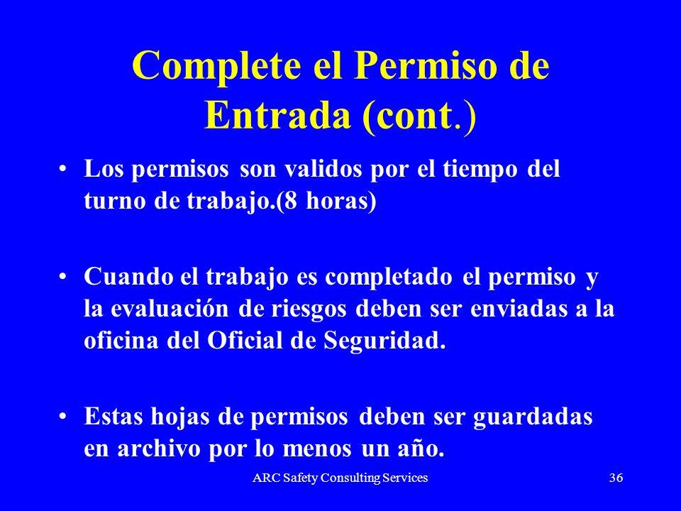 Complete el Permiso de Entrada (cont.)