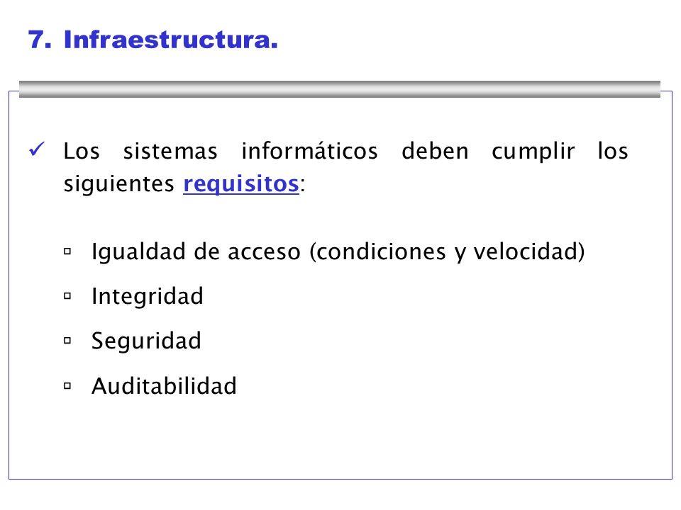 7. Infraestructura.  Los sistemas informáticos deben cumplir los siguientes requisitos:  Igualdad de acceso (condiciones y velocidad)