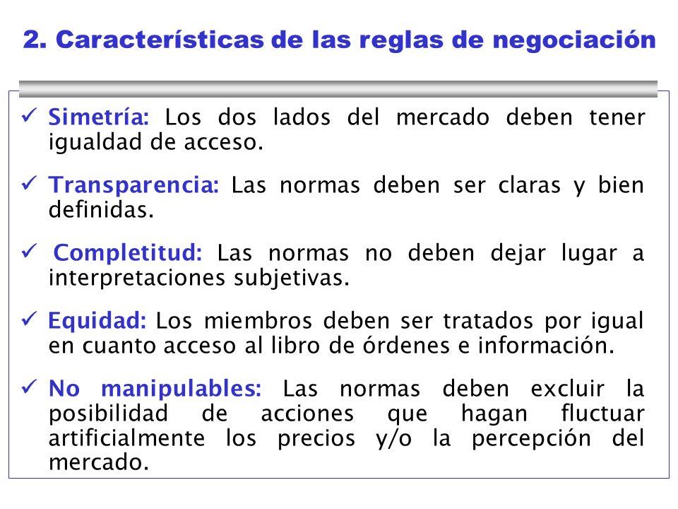 2. Características de las reglas de negociación