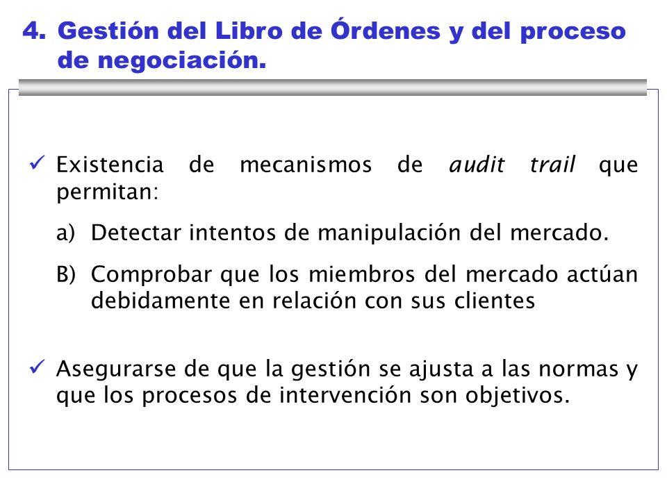 4. Gestión del Libro de Órdenes y del proceso de negociación.