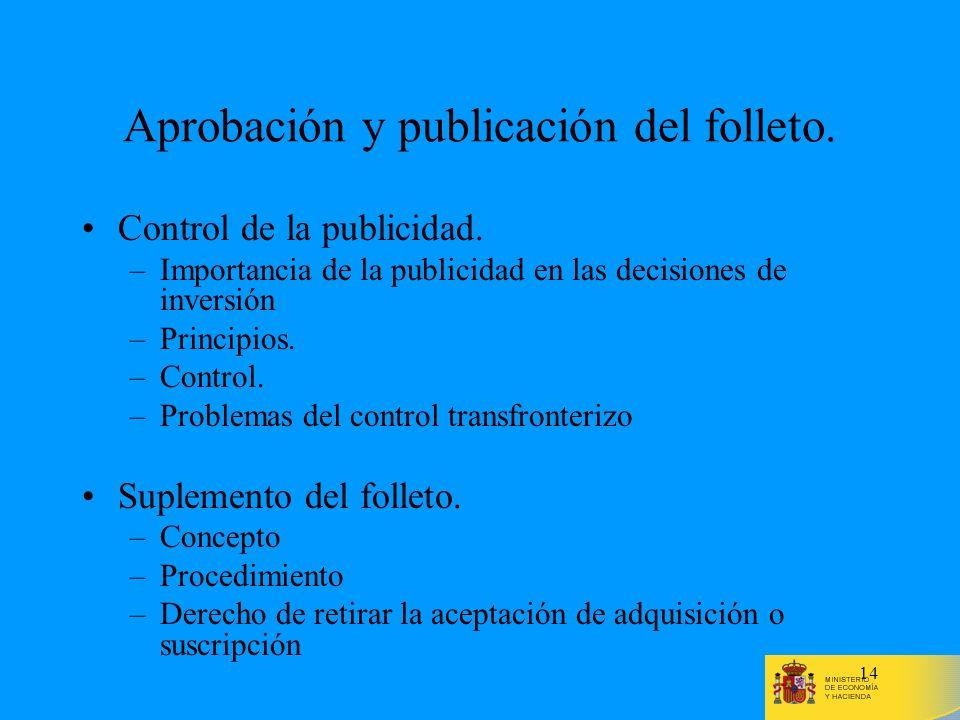 Aprobación y publicación del folleto.