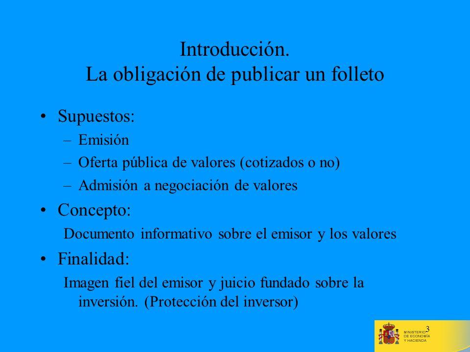 Introducción. La obligación de publicar un folleto