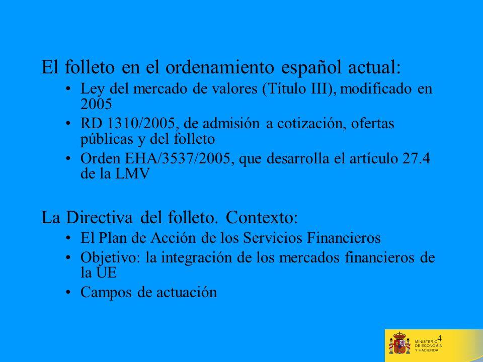 El folleto en el ordenamiento español actual: