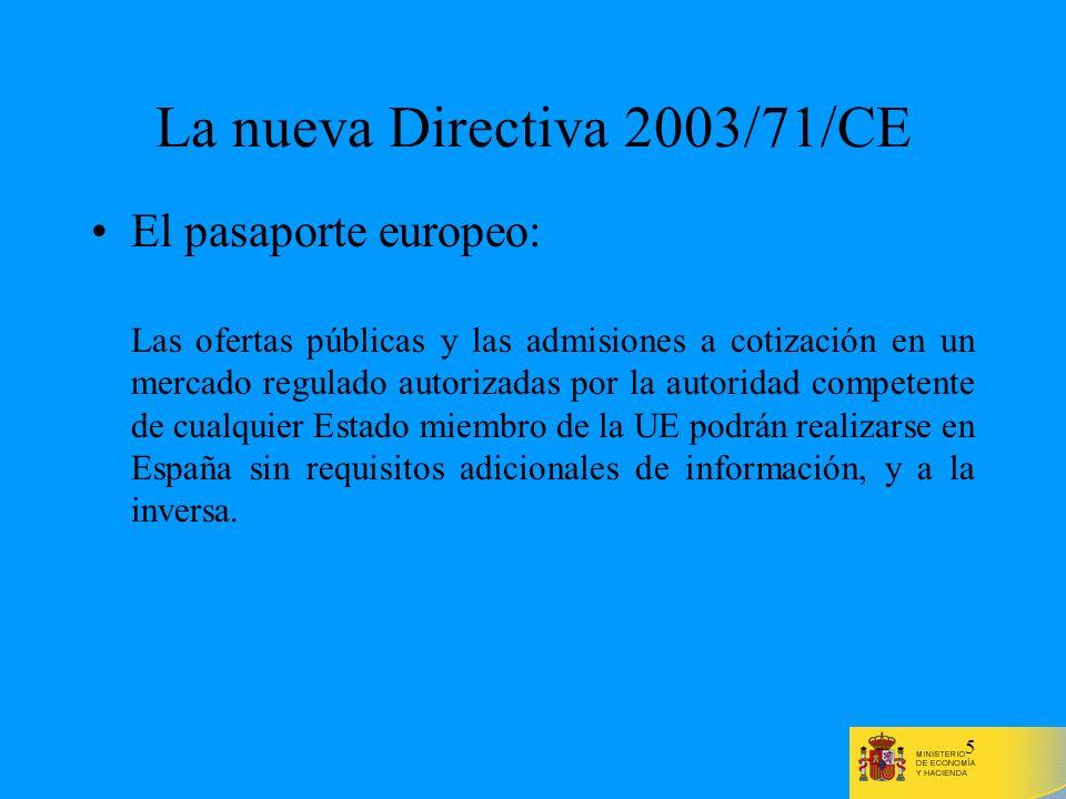 La nueva Directiva 2003/71/CE