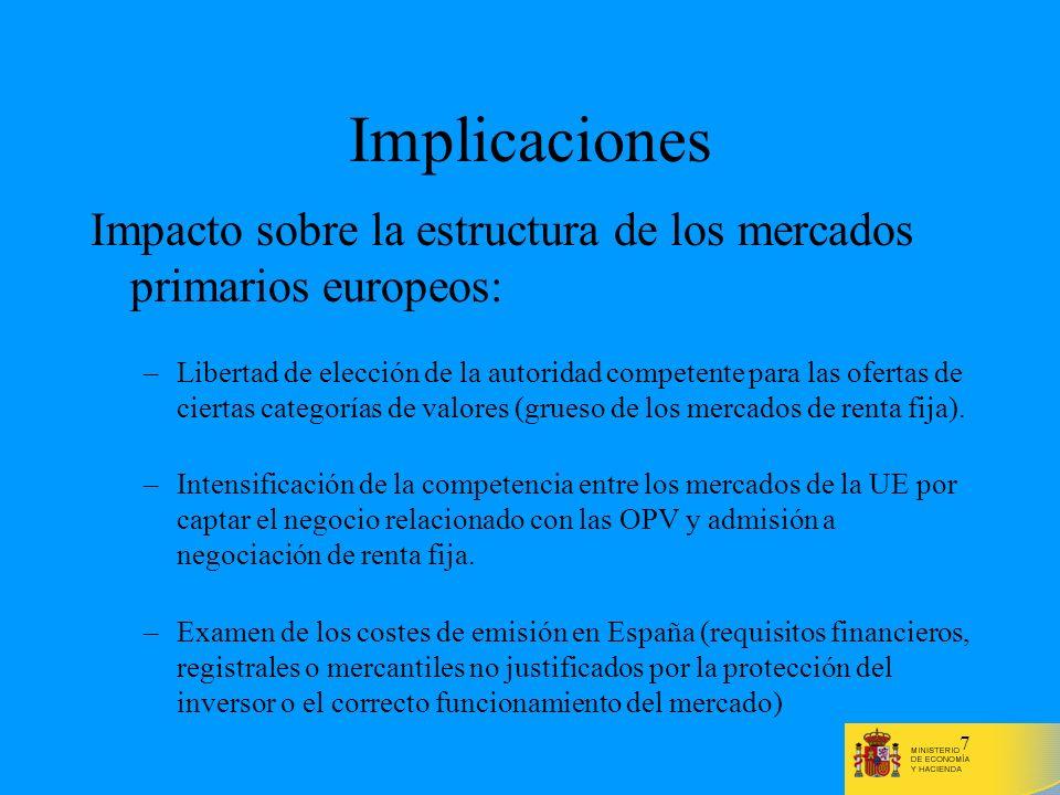 Implicaciones Impacto sobre la estructura de los mercados primarios europeos: