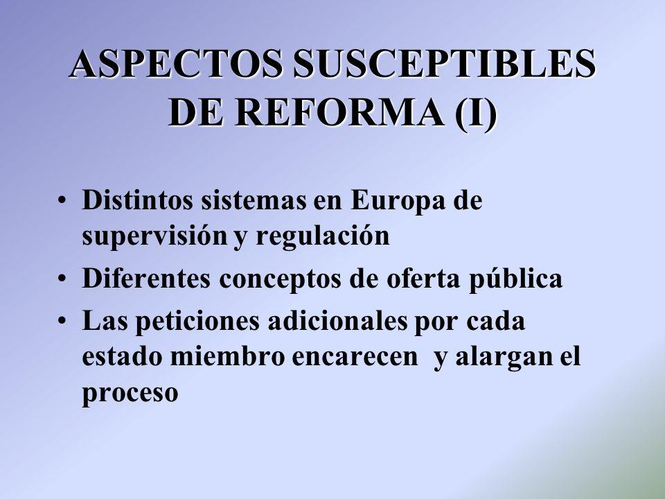ASPECTOS SUSCEPTIBLES DE REFORMA (I)