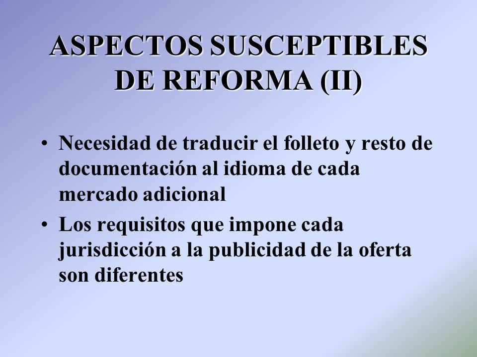 ASPECTOS SUSCEPTIBLES DE REFORMA (II)