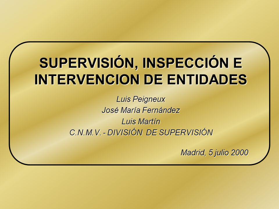 SUPERVISIÓN, INSPECCIÓN E INTERVENCION DE ENTIDADES