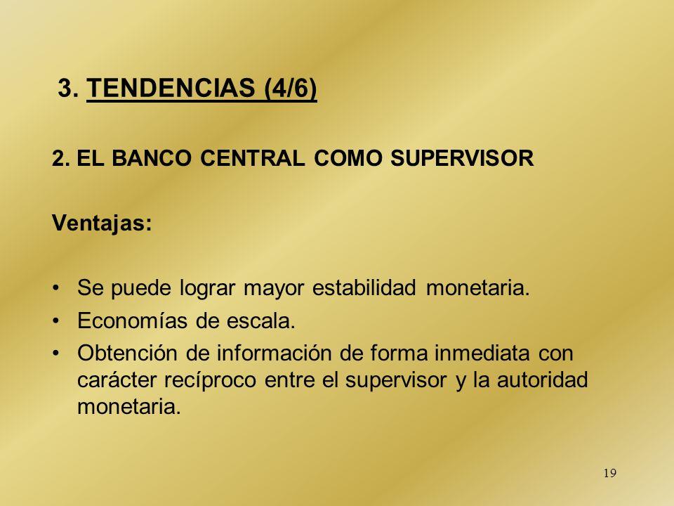 3. TENDENCIAS (4/6) 2. EL BANCO CENTRAL COMO SUPERVISOR Ventajas: