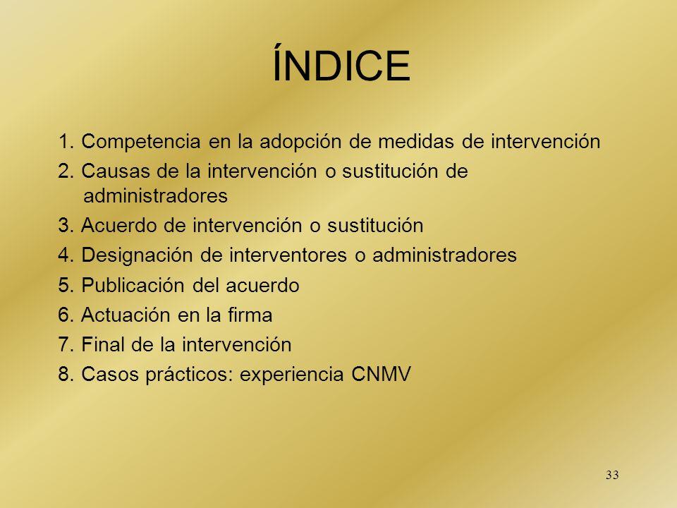 ÍNDICE 1. Competencia en la adopción de medidas de intervención