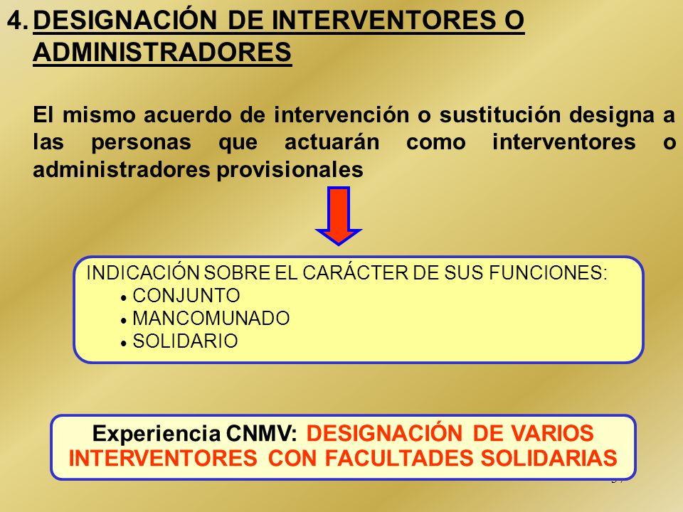 4. DESIGNACIÓN DE INTERVENTORES O ADMINISTRADORES