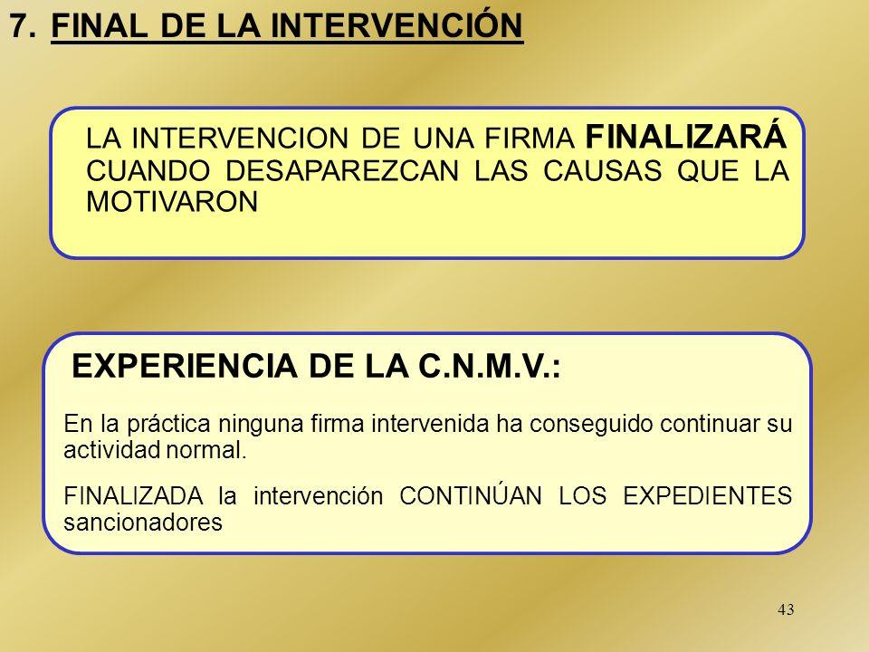 7. FINAL DE LA INTERVENCIÓN