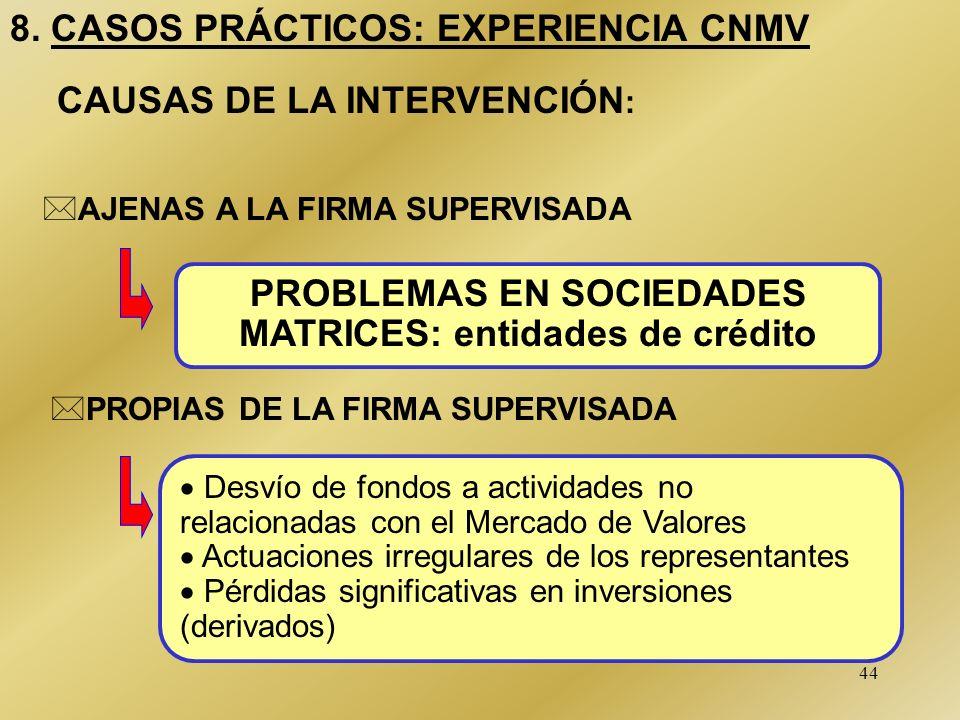 PROBLEMAS EN SOCIEDADES MATRICES: entidades de crédito