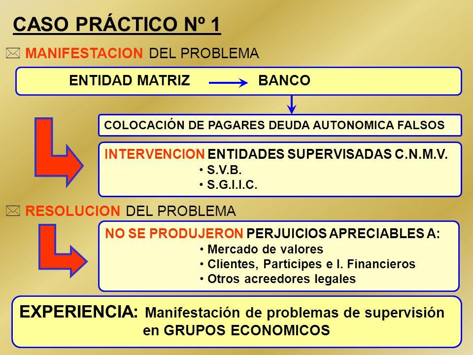 CASO PRÁCTICO Nº 1MANIFESTACION DEL PROBLEMA. ENTIDAD MATRIZ BANCO. COLOCACIÓN DE PAGARES DEUDA AUTONOMICA FALSOS.