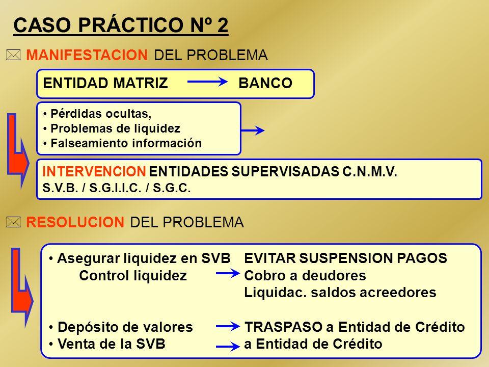 CASO PRÁCTICO Nº 2 MANIFESTACION DEL PROBLEMA ENTIDAD MATRIZ BANCO